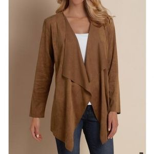 Soft Surroundings | Faux Suede Waterfall Cardigan